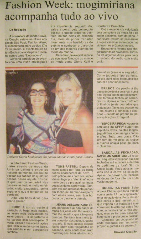 giovana quaglio, jornal a comarca, mogi mirim, gloria kalil
