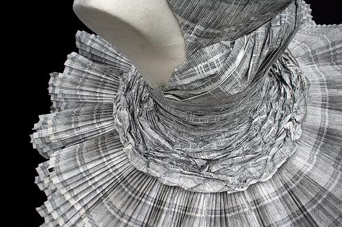 vestido, papel, artesanal, moda, roupa
