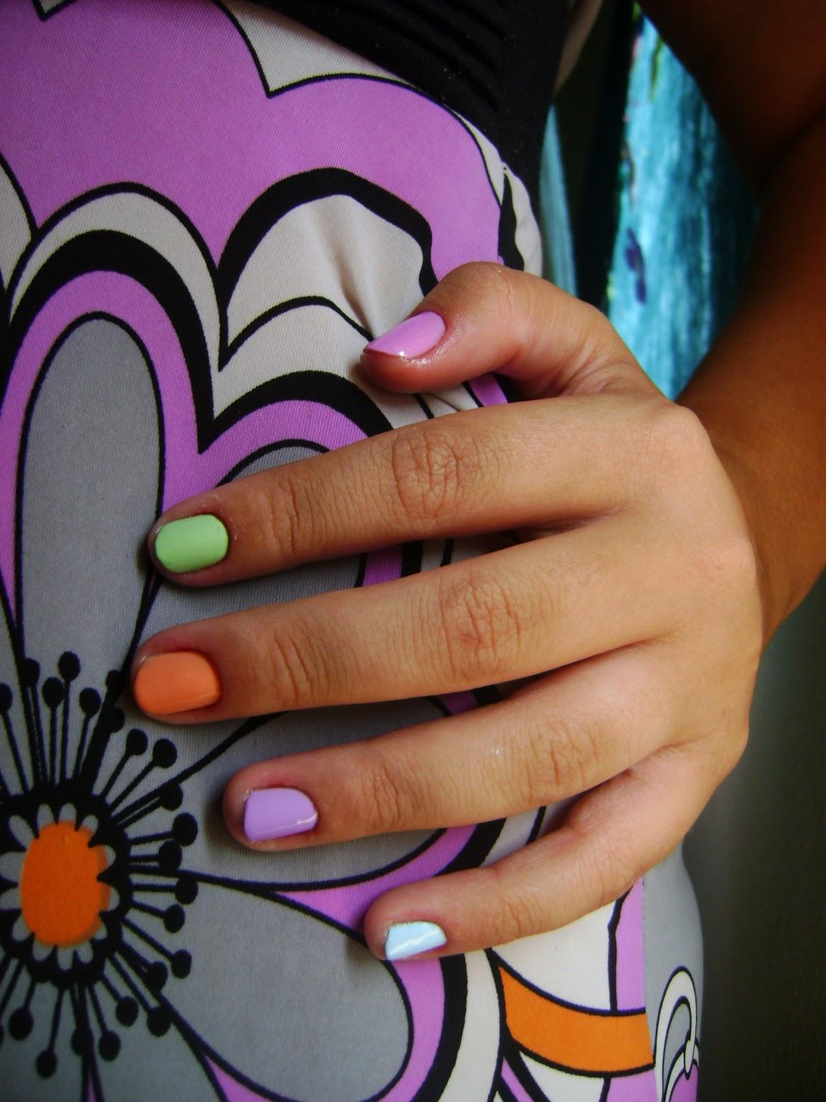 esmalte, arco iris, colorido, uma unha de cada cor