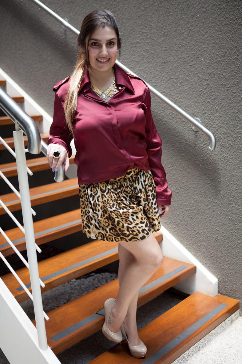look do dia, camisa vinho, shorts oncinha, giovana quaglio, moca bonita, mogi guaco, mogi mirim, campinas