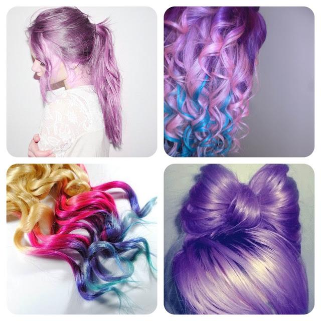 Cabelos, Coloridos, inspiração, rainbow hair, purple, pink, rosa, roxo