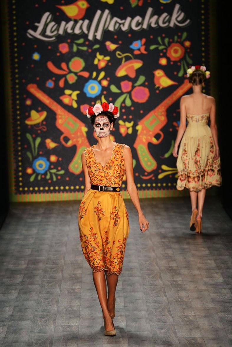 Lena Hoschek, Fashion Week, Berlin, Mexican Skull, Caveira Mexicana, Maquiagem, Moda, Desfile
