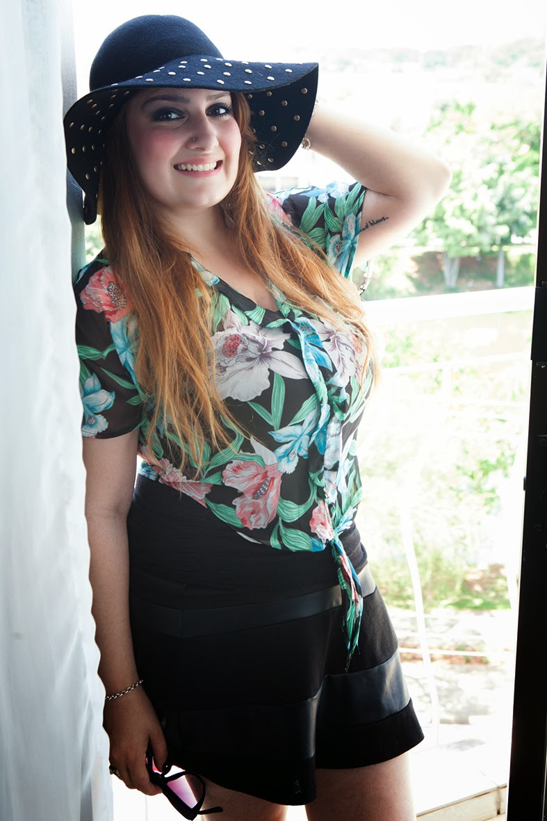 giovana quaglio, look do dia, camisa florida, chapéu floppy, pool party, forever 21, mogi mirim, campinas, blogueira,