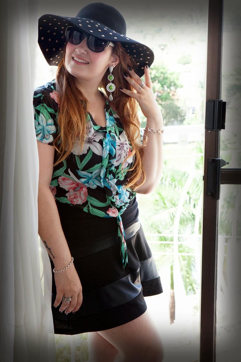 giovana quaglio, look do dia, camisa florida, chapéu floppy, pool party, forever 21, mogi mirim, campinas, blogueira,