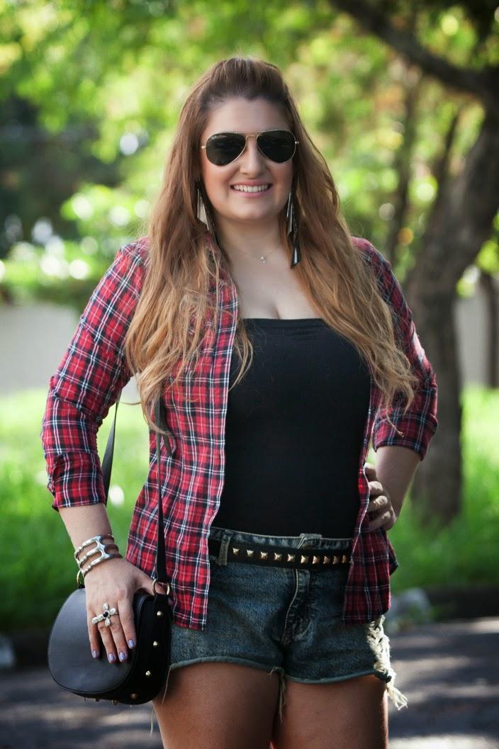 giovana quaglio, look do dia, camisa xadrez, shorts jeans, botinha, forever 21, blog de moda, mogi mirim, campinas, mogi guacu