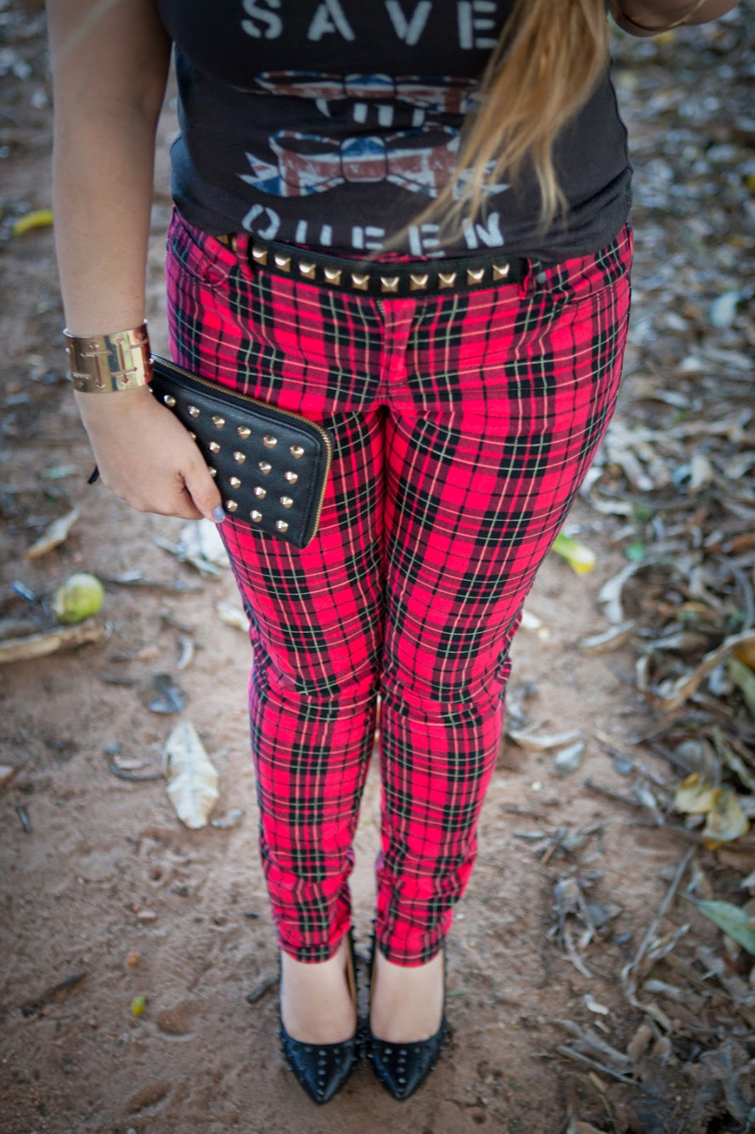 acho tendência, blog de moda, look do dia, look rocker, calça xadrez, tartan, spikes, tachinhas, punk, god save the queen, inglaterra, mogi mirim, mogi guaçu, campinas