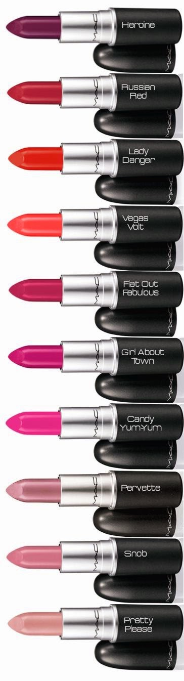 Acho Tendencia, Nomes, Batom, Mac, Melhores, Heroine, Snob, Russian Red, Lady Danger, Vegas Volt, Flat Out Fabulous, Girl About Town, Candy Yum-Yum, Pervertte, Pretty Please