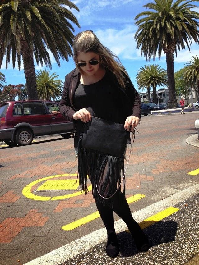 look do dia, blogueira de moda, giovana quaglio, nova zelandia, franjas, bolsa de franjas, tauranga