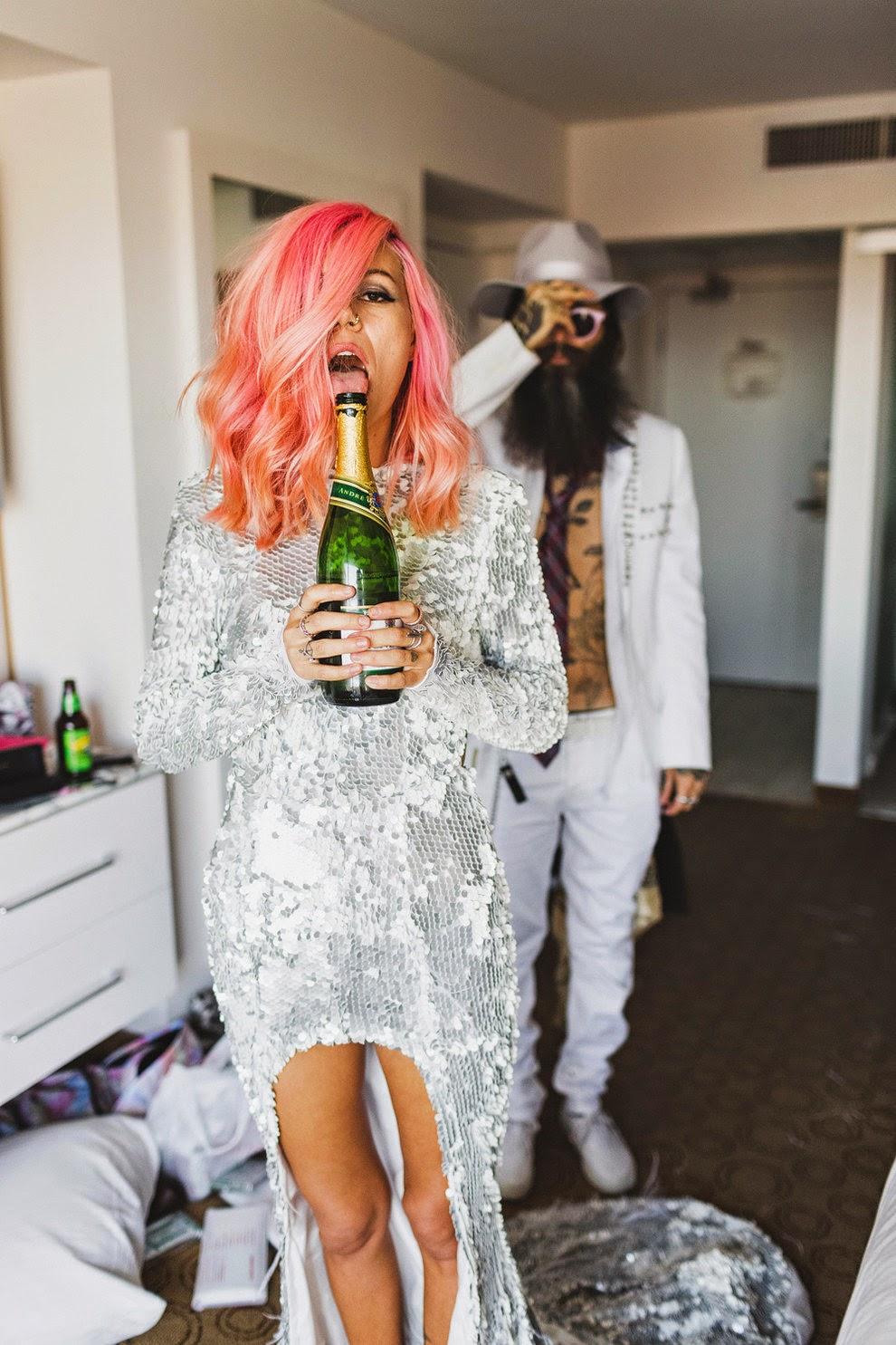 casamento, las vegas, cabelo rosa,