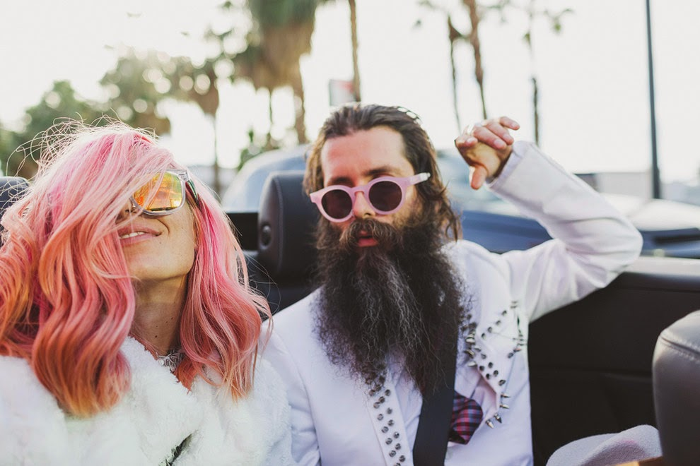 casamento, las vegas, cabelo rosa, estiloso, diferente