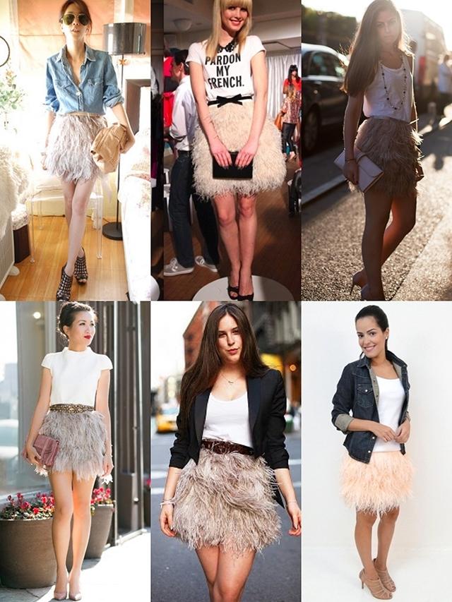 saia de plumas, penas, avestruz, looks, como usar, onde comprar, inspiracao, ideias, acho tendencia, giovana quaglio, blog de moda