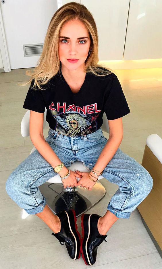 look rocker, dia do rock, outfit, como usar, camiseta de banda, camila coelho, thassia naves, chiara ferragni, chanel,
